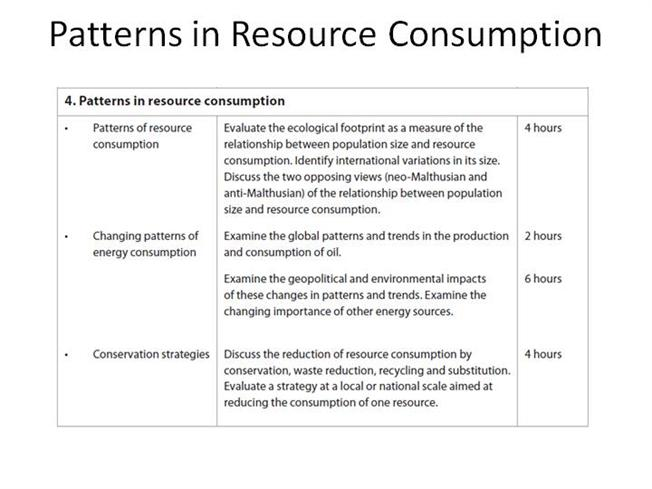 patterns in resource consumption Pasture land required: the resources required for growing animals for meat, hides, milk etc forest resources: the resources needed for fuel, furniture, housing, etc and for providing many ecosystem service like climate stability and erosion prevention.