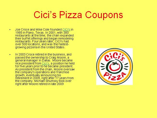 Cici's pizza coupons codes
