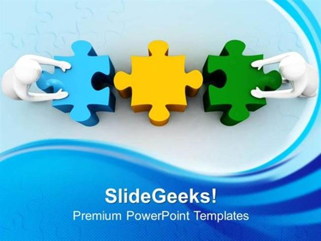 people 3d man with puzzle teamwork ppt template 1