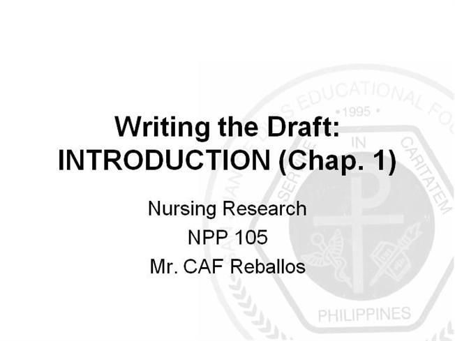 Nursing research chapter 3 papers