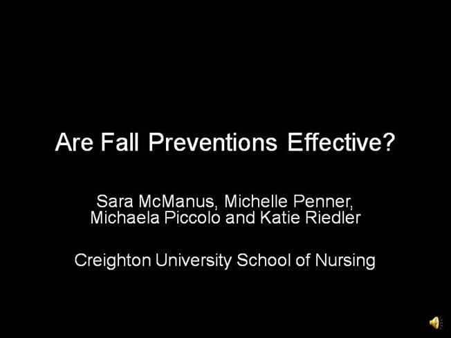 Research papers on fall prevention