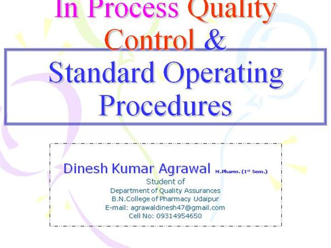 In process quality control standard operating procedures for Quality control procedure template