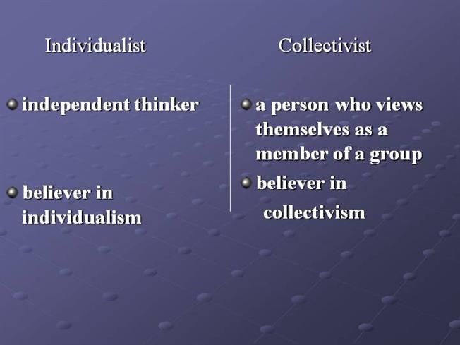reluctant collectivists essay The individualist concept of culture refers to being more self-centered and emphasize mostly on their individual goals people from individualistic.