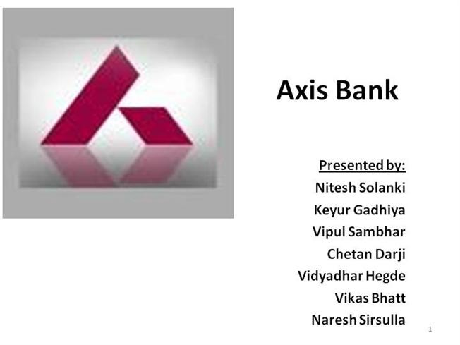project on axis bank Axis bank, which ran its first accelerator programme with six startups, has selected three  pally, fintechlabs and gieom -to use their solutions for.
