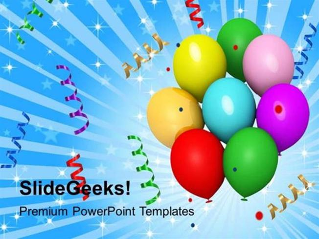 new year balloons streamers and confetti celebration ppt