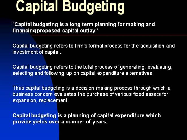 dissertation on capital budgeting Capital budgeting is a multi-step process businesses use to determine how worthwhile a project or investment will be a company might use capital budgeting to figure out if it should expand its warehouse facilities, invest in new equipment, or spend money on specialized employee training.