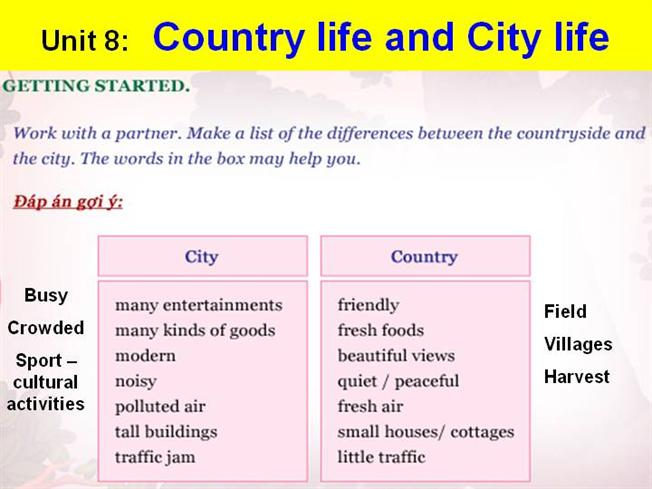 Compare and contrast essay on country living and city living
