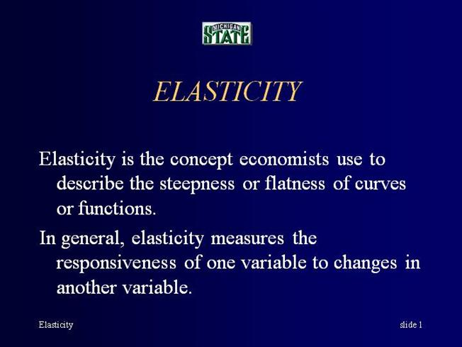economics elasticity concepts The concept of price elasticity of demand is commonly used in economic literature price elasticity of demand is the degree of responsiveness of quantity demanded of a good to a change in its price.