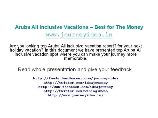 Aruba all inclusive vacations best for the money for Best all inclusive resorts for your money