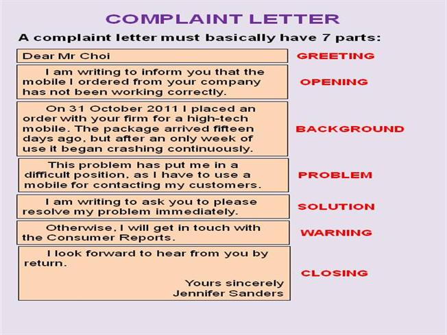 Complaint letter writing help