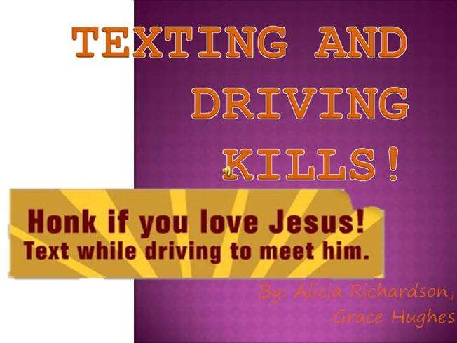 texting and driving kills Texting while driving has become a greater hazard than drinking and driving among teenagers who openly acknowledge sending and reading text messages while behind the.
