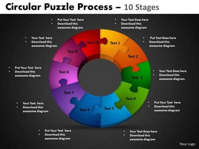 10 stages cycle process project management powerpoint diagram. Black Bedroom Furniture Sets. Home Design Ideas