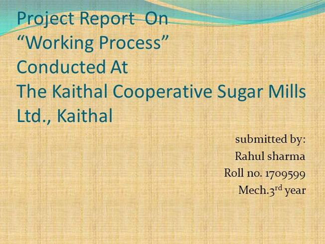project report on training and development in sugar mills