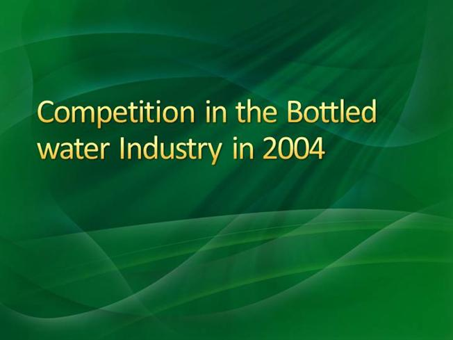 competition in the bottled water industry Competition in the bottled water industry 1 list and describe the dominant economic characteristics of the bottled water industry market size and growth rate the industry is size is worldwide with a growth rate averaging nearly 9% from 1996-2001 (with a us per capita growth from 20 gallons per year in 2001 to 26 gallons per year in 2005).