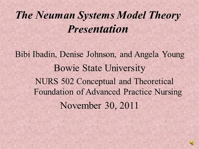 exploration of neumans system model applied to nursing The neuman system model applied to mental health nursing of older adults  this paper we will examine the application of the neuman system model to the mental .