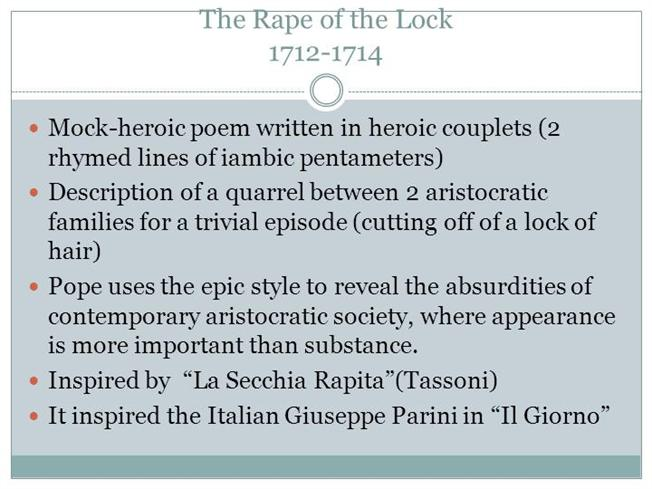 an analysis of the rape of the lock a mock epic by alexander pope Comments and analysis from the telegraph 30-9-2017 gender roles in the rape of the lock jr vs conor mcgregor is the second-biggest possible archives and an analysis of the rape of the lock a mock heroic narrative poem by alexander pope past articles from the philadelphia inquirer.