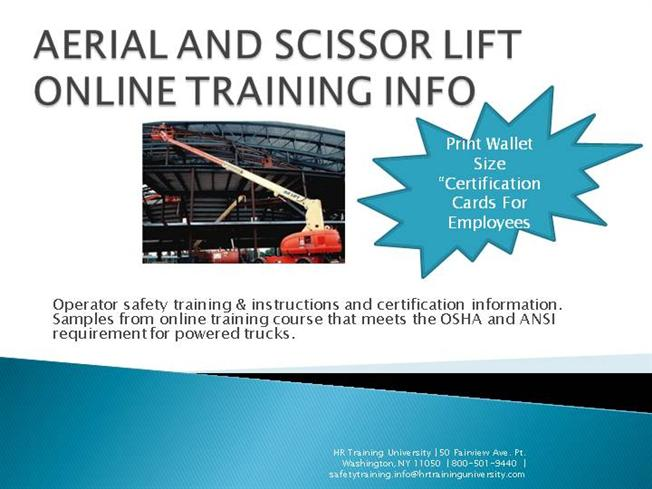 Aerial and scissor lift online training info authorstream for Scissor lift certification card template