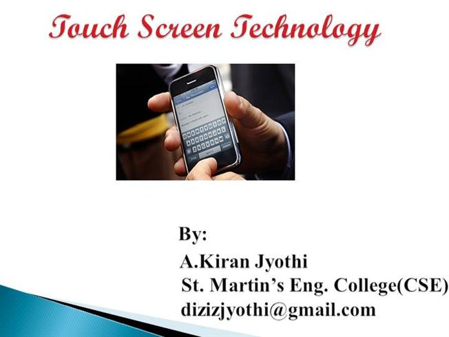 Touch Screen Technology Seminar ppt and pdf Report