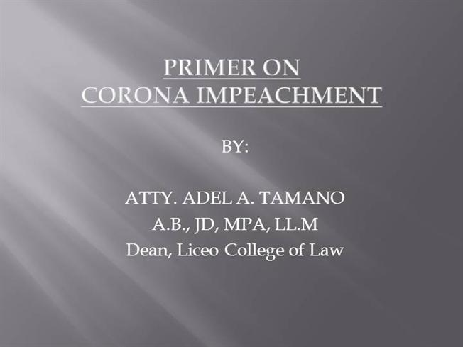 corona s impeachment Stay tuned for the live stream of cj corona's impeachment trial day 5 via gma news online for more live events from gma news online, visit .