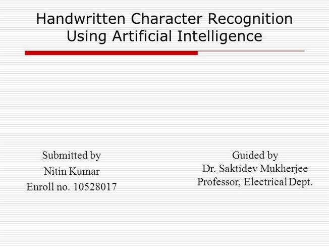 handwritten character recognition thesis Optical character recognition for handwritten hindi after creating individual character images by the our specific handwriting recognition problem.