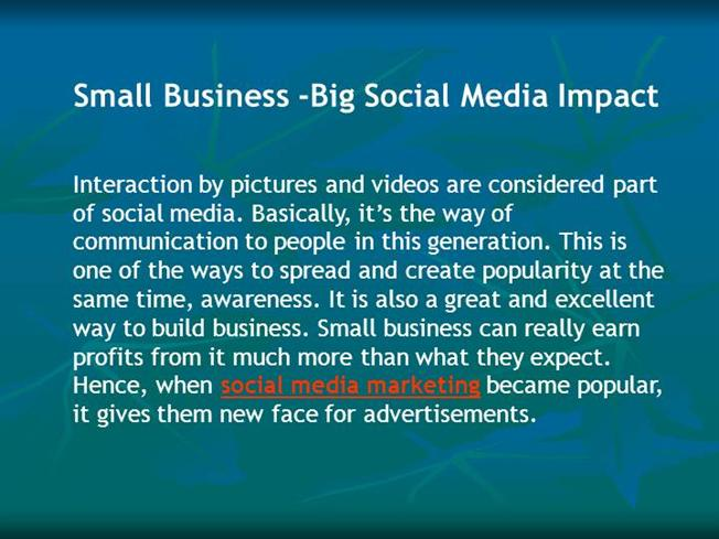 impact of social media on business marketing The impact of social media on the business of real estate, social media,  facebook,  social media, internet/mobile marketing and instant communication  have.