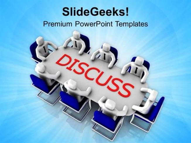 teamwork group discussion business solution ppt template