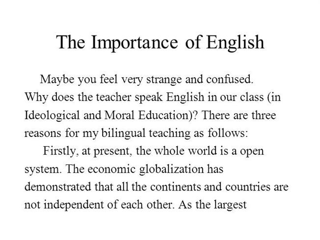 essay on importance of english language in school