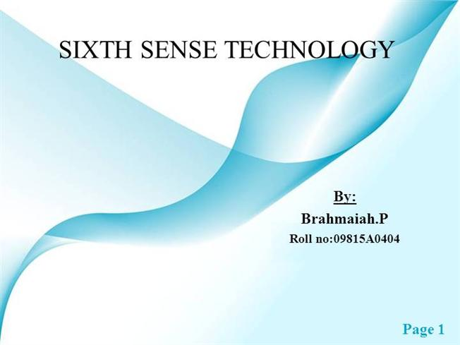 the sixth sense technology