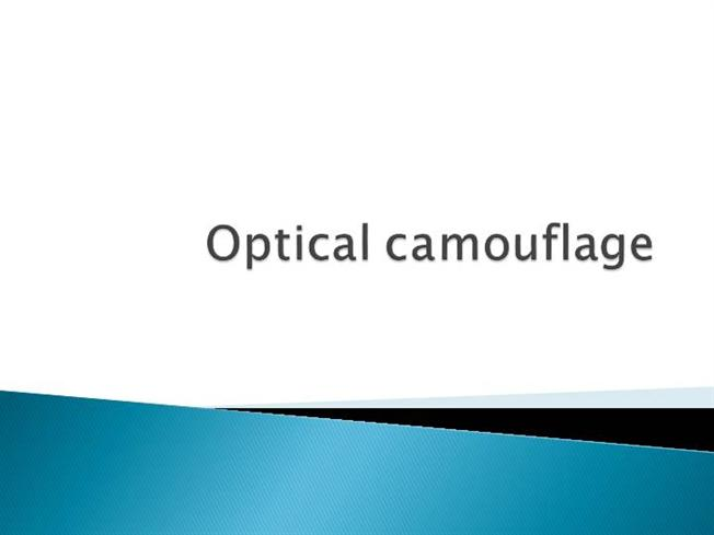 introduction to optical camouflage Introduction to target detection  in the optical path between the target and the ir system, the radiation contrast can be influenced by environmental conditions.
