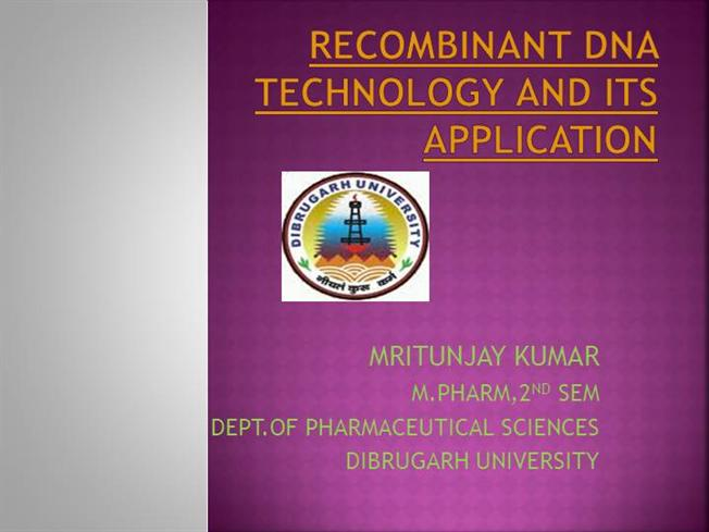 application of recombinant dna ppt