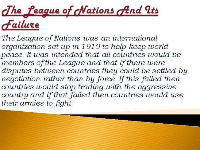 the impact of the league of nations on world peace The league of nations (lon) was an intergovernmental organization founded as a result of the paris peace conference that ended world war i, and was the precursor to the united nations the league was the first permanent international security organization whose principal mission was to maintain world peace.