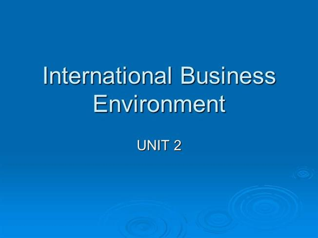international business enviroment 1 international marketing environment is a set of controllable (internal) and uncontrollable (external) forces or factors that affect international marketing.