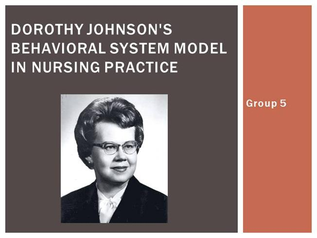 dorothy johnson s theory Johnson's behavioral system model is a model of nursing care that advocates  the fostering of efficient and effective behavioral functioning in the patient to.