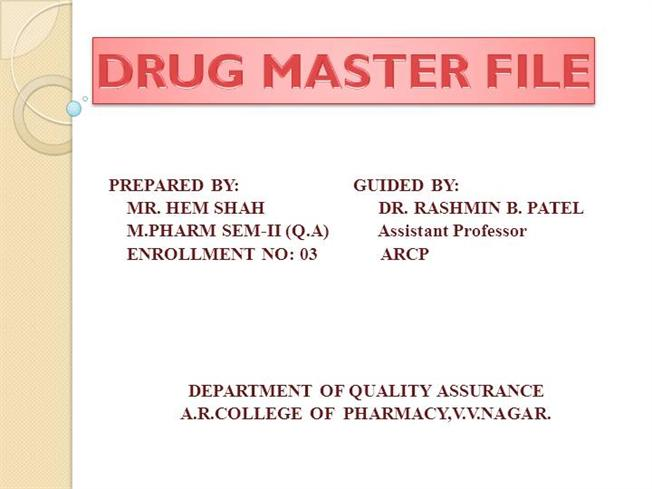drug master file Health canada has recently announced two major initiatives which greatly affect regulatory submissions in general and master files (commonly called drug master files.