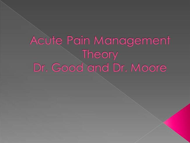 acute pain theory adult