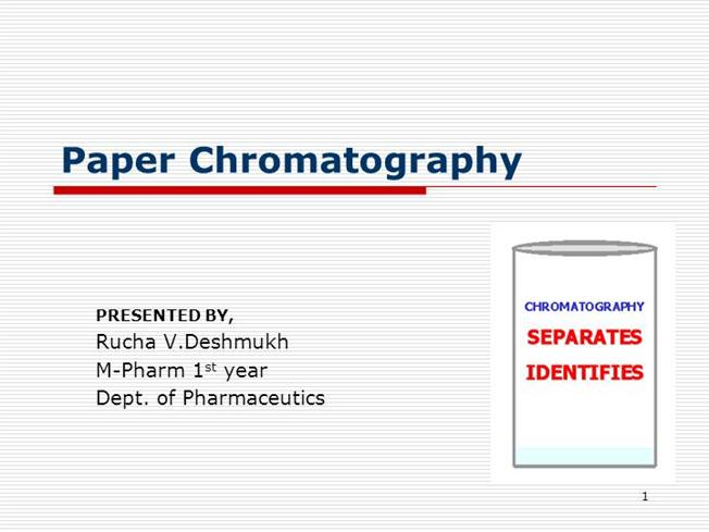 seperating metal cations using paper chromatography View lab report - lab report1 from chm 110 at university of toronto  experiment 1 separation of metal ions by paper chromatography student name:  katrina.