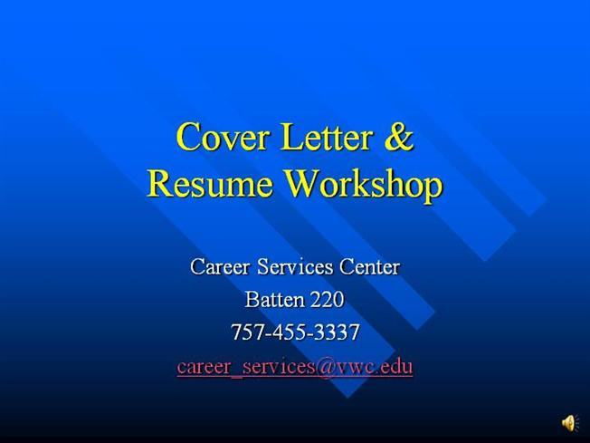 narrated cover letter  u0026 resume workshop
