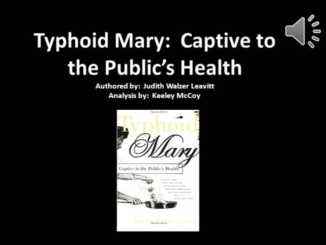 judith walzer leavitts typhoid mary essay Read at least you're not a 'typhoid mary' short stories, essays, research papers leavitt, judith walzer typhoid mary and the public's health.
