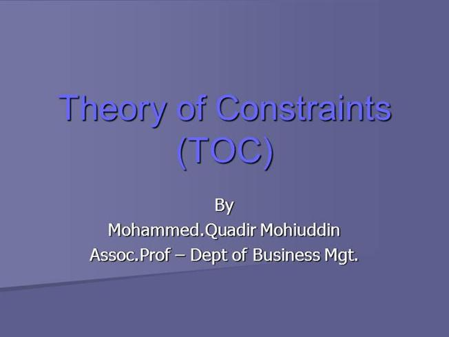 research paper theory constraints Purpose – the purpose of this paper is to suggest that the theory of constraints (toc) can serve as a general theory in operations management.