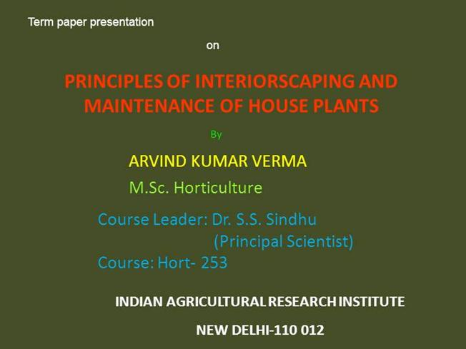 horticulture term paper