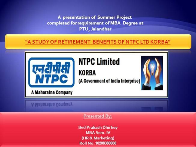 ntpc mba summer training project