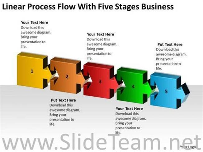 linear process flow with five stages business templates cause and effect diagram template powerpoint