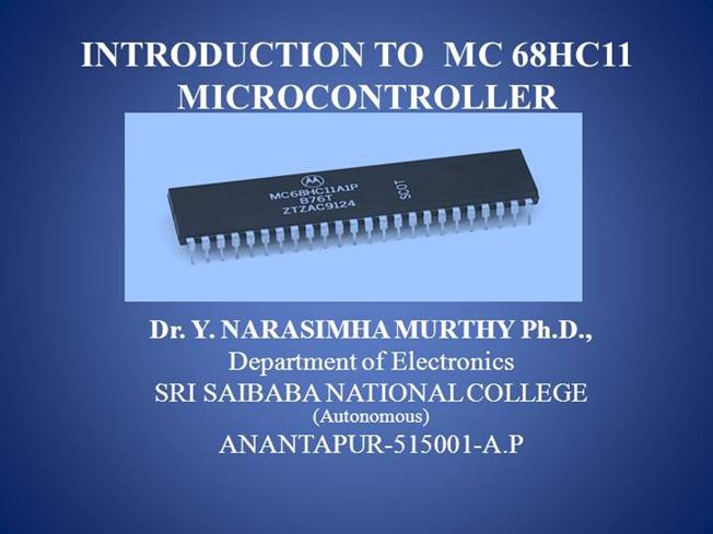 Introduction To 68hc11 Microcontroller