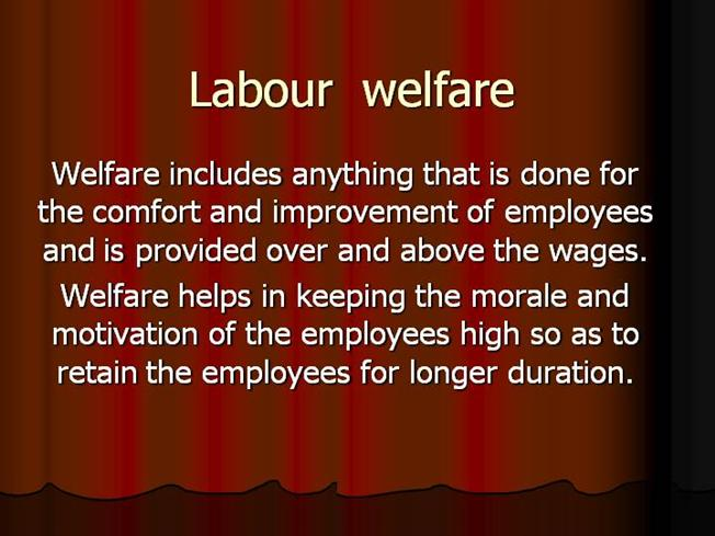 topics related to labour welfare measures Workers' safety and social security, looking after labour welfare and providing of the necessary support measures for sorting out problems relating to employment of both men and women workers in different sectors setting up an expert group to look into the issues relating to vocational training programme for persons.