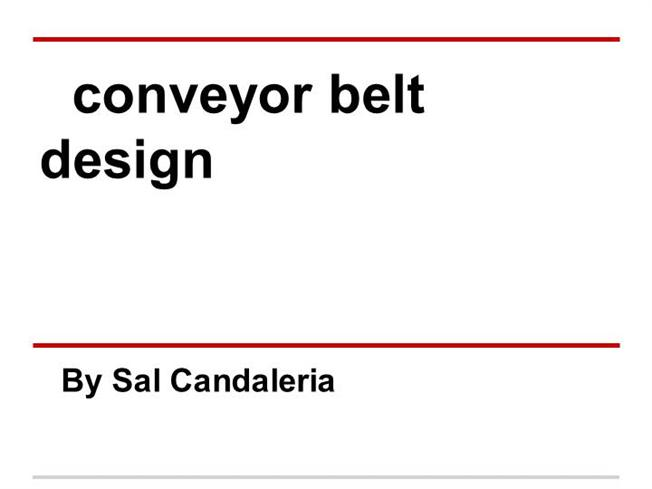 Belt conveyors principles for calculation and design pdf