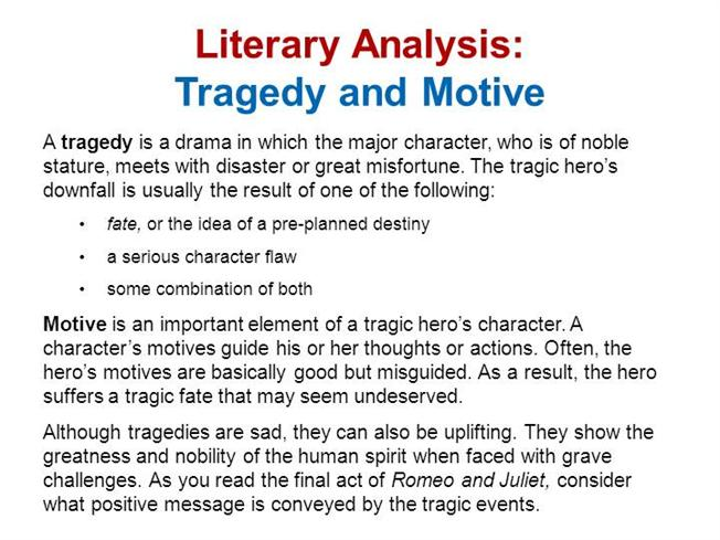 literary analysis of the tragedy of Literary analysis terms identified in the cahsee prep book learn with flashcards, games, and more — for free.