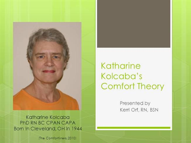 the theory of comfort by katherine kolcaba The comfort theory is a nursing theory that was first developed in the 1990s by katharine kolcaba comfort theory is middle range theory for health practice, education, and research this theory allows combination of thinking and practical work of nursing scientists the author still works on the theory and updates its theoretical.