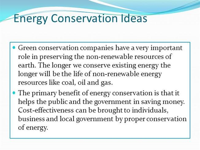 the importance of energy conservation