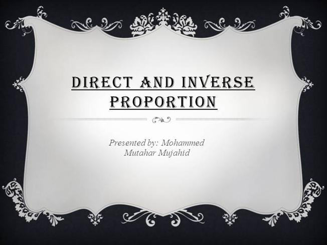 Direct Proportion - m