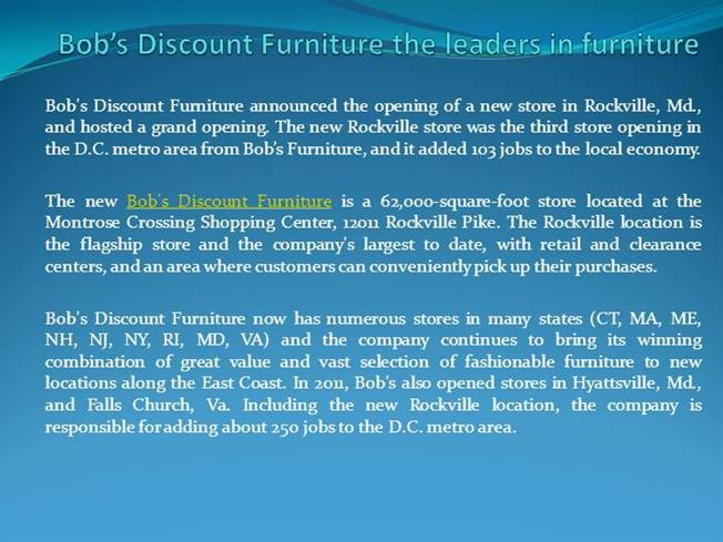 Bob S Discount Furniture The Leaders In Furniture Authorstream